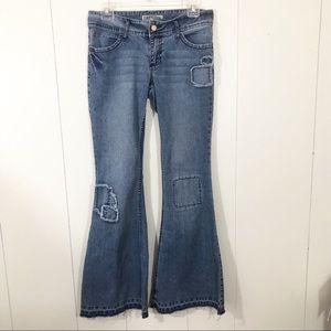 YMI Flare Patches Jeans size 9 Stretch Denim